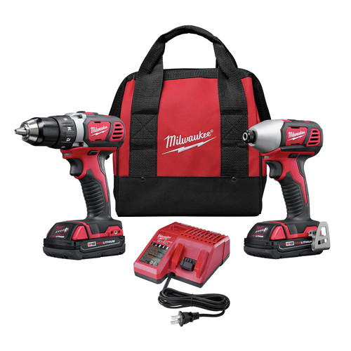 Factory Reconditioned Milwaukee 2691-82 M18 18V Cordless Lithium-Ion 1/4 in. Drill Driver and Impact Driver High Performance Combo Kit