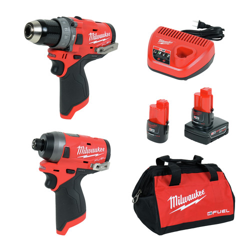 Milwaukee 2598-22 M12 FUEL 2-Tool Combo Kit: 1/2 in. Hammer Drill and 1/4 in. Hex Impact Driver image number 0