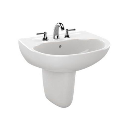 TOTO LHT241G#01 Supreme Wall Mount Vitreous China 19.63 in. x 22.88 in. Round Bathroom Sink (Cotton White)