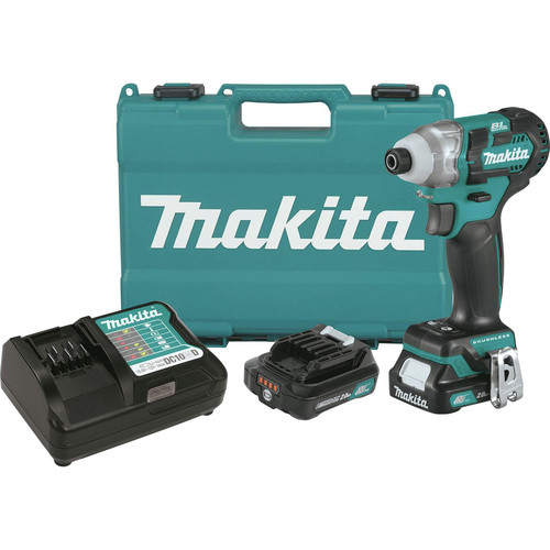 Factory Reconditioned Makita DT04R1-R CXT 12V Cordless Lithium-Ion 1/4 in. Brushless Impact Driver Kit with (2) 2 Ah Batteries image number 0
