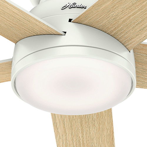 Hunter 59481 54 in. Romulus Fresh White Wifi Ceiling Fan with LED Light and Remote image number 3