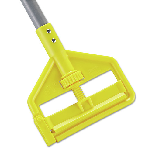 Rubbermaid Commercial FGH14600GY00 Invader Fiberglass 1 in. x 60 in. Side-Gate Wet Mop Handle - Gray/Yellow image number 0