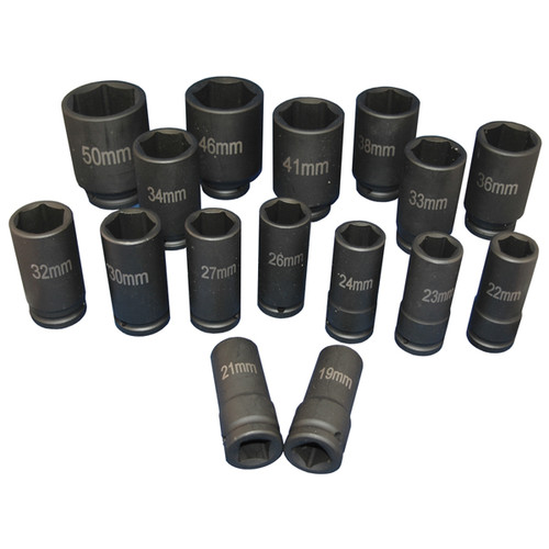 ATD 6406 16-Piece 3/4 in. Drive 6-Point Metric Deep Impact Socket Set image number 0