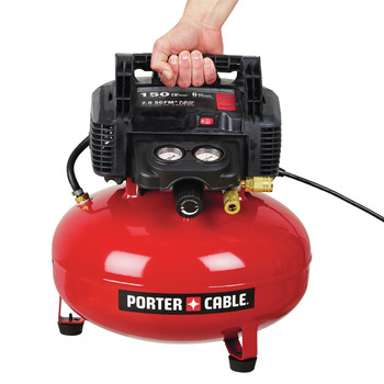 Factory Reconditioned Porter-Cable C2002R 0.8 HP 6 Gallon Oil-Free Pancake Air Compressor image number 2