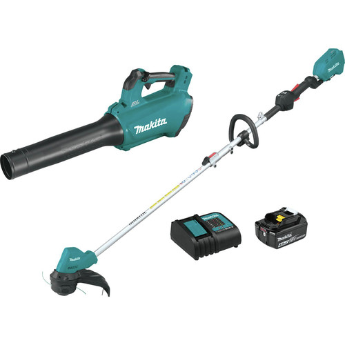 Makita XT286SM1 18V LXT Lithium-Ion Brushless Cordless Blower / String Trimmer Combo Kit (4 Ah) image number 0