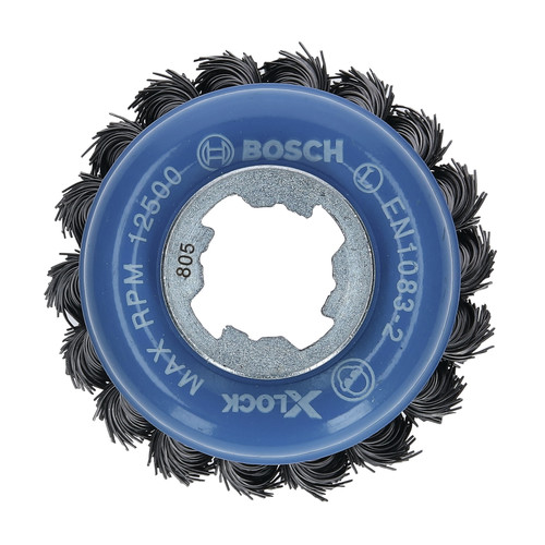 Bosch WBX328 X-LOCK Arbor Carbon Steel Knotted Wire Single Row 3 in. Cup Brush image number 0