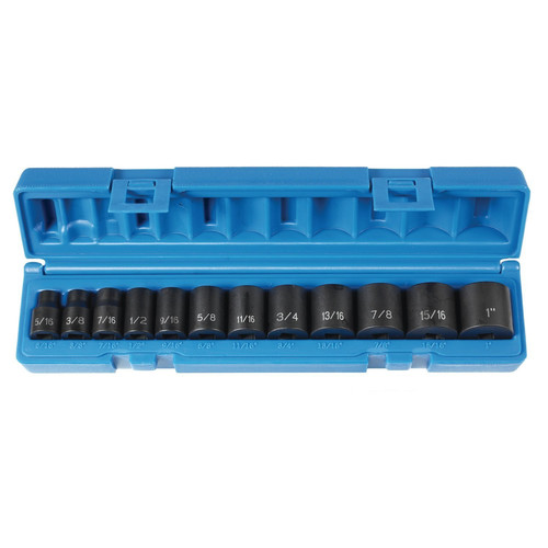 Grey Pneumatic 1213 12-Piece 3/8 in. Drive 6-Point SAE Standard Impact Socket Set