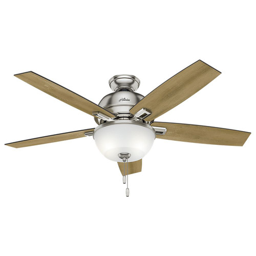 Hunter 53335 52 in. Donegan Brushed Nickel Ceiling Fan with Light