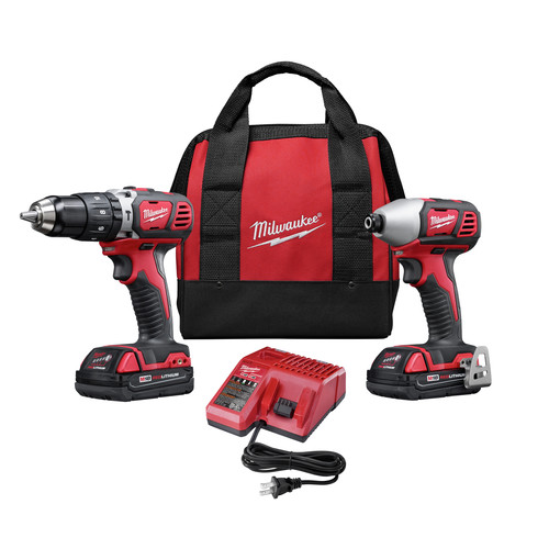Factory Reconditioned Milwaukee 2697-82CT M18 18V Cordless Lithium-Ion 1/2 in. Compact Hammer Drill and Impact Driver Combo Kit