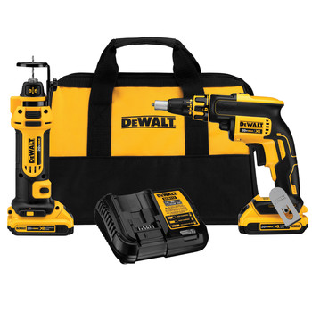 Dewalt DCK263D2 20V MAX XR Cordless Lithium-Ion Brushless Drywall Screwgun and Cut-Out Tool Combo Kit