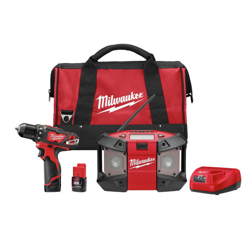 Factory Reconditioned Milwaukee 2492-82 M12 12V Cordless Lithium-Ion 3/8 in. Drill Driver & Portable Radio Kit
