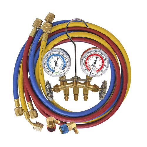 Mastercool 66661 Brass R134a Manifold Gauge Set with 3 Hoses