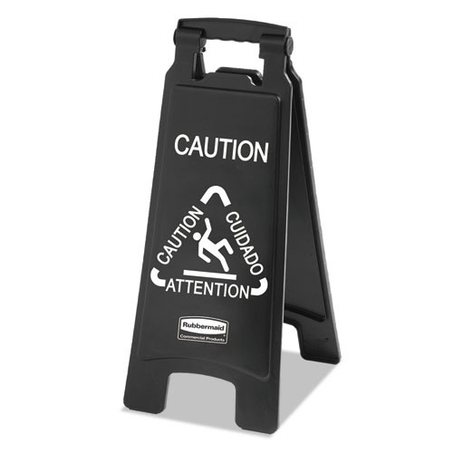 Rubbermaid 1867505 Executive 2-Sided Multi-Lingual Caution Sign (Black/White)
