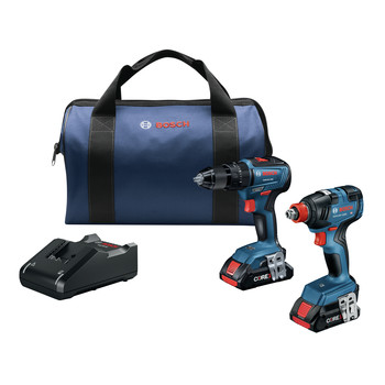 Bosch GXL18V-233B25 18V Freak 1/4 in. and 1/2 in. Two-in-One Bit/Socket Impact Driver and 1/2 In. Hammer Drill Driver Combo Kit (4 Ah)