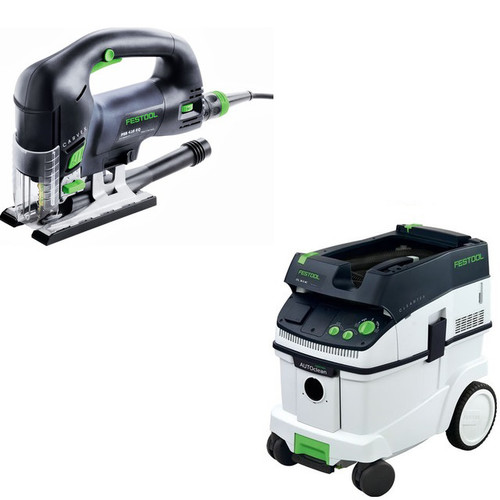 Festool PSB 420 EBQ Carvex D-Handle Jigsaw with CT 36 AC 9.5 Gallon Mobile Dust Extractor