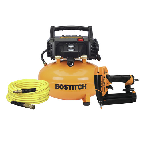 Bostitch BT1KIT18SP 6 Gallon Portable Electric Pancake Air Compressor with 18-Gauge Smartpoint Brad Nailer Combo Kit image number 0