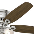 Hunter 53328 52 in. Builder Low Profile Brushed Nickel Ceiling Fan with Light image number 5
