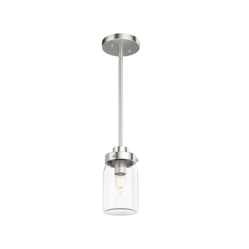 Hunter 19009 Devon Park Brushed Nickel 1-Light Jar Pendant image number 0