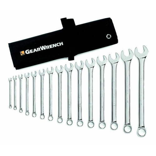 GearWrench 81918 15-Piece 12-Point SAE Long Pattern Combination Wrench Set image number 0