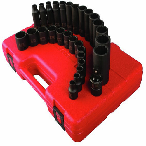Sunex 3330 29-Piece 3/8 in. Drive 12-Point Metric Impact Socket Set image number 0