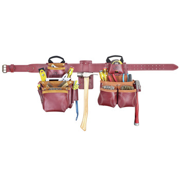 CLC 21455X 19 Pocket - Top of the Line Pro Framer's Heavy Duty Leather Combo Tool Belt System-XL