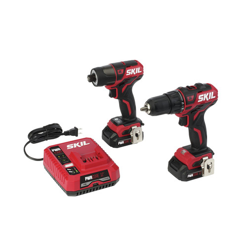 Skil CB736701 PWRCore 12 12V Brushless Drill Driver and Impact Driver Kit with (2) 2 Ah Lithium-Ion Batteries and PWRJUMP Charger image number 0