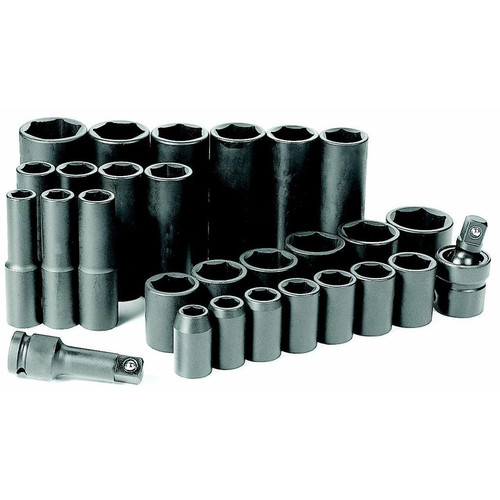Grey Pneumatic 1328RD 28-Piece 1/2 in. Drive 6-Point SAE Standard and Deep Impact Socket Set image number 0