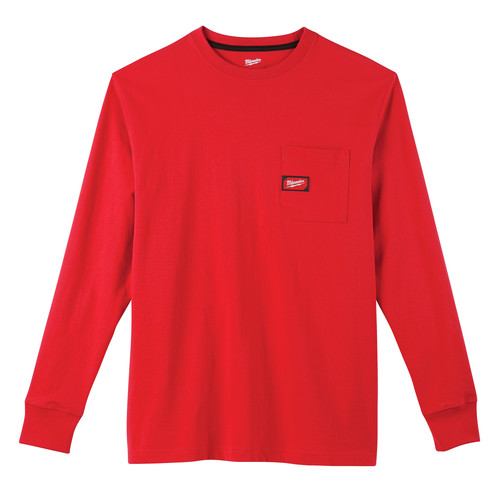 Milwaukee 602R-S Heavy Duty Long Sleeve Pocket Tee Shirt - Red, Small image number 0