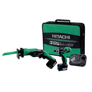 Hitachi KC10DBLPL HXP 10.8V Cordless Lithium-Ion 1/4 in. Micro Drill Driver and Reciprocating Saw Kit (1.5 Ah)