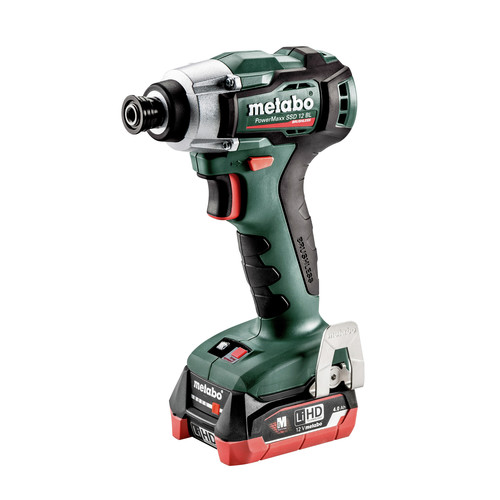 Metabo 601115520 PowerMaxx SSD 12 BL 12V 4.0 Ah LiHD 1/4 in. Hex Compact Brushless Impact Driver Kit image number 0