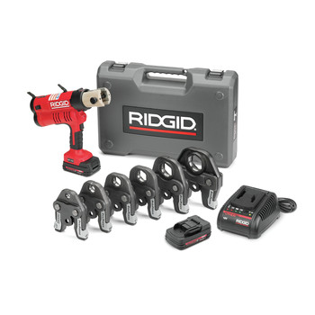 Ridgid RP 340 18V Cordless Lithium-Ion Press Tool Kit with 1/2 in. - 2 in. ProPress Jaw Set