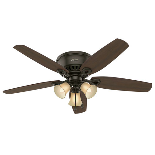 Hunter 53327 52 in. Builder Low Profile New Bronze Ceiling Fan with Light
