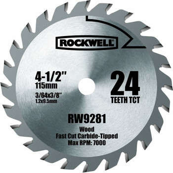 Rockwell RW9281 4-1/2 in. 24T Carbide Tipped Compact Circular Saw Blade image number 0
