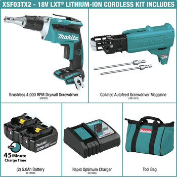 Makita XSF03TX2 18V LXT Lithium-Ion Brushless Cordless 4,000 RPM Drywall Screwdriver Kit with Autofeed Magazine (5 Ah) image number 1