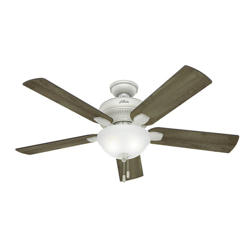 Hunter 54091 Matheston 52 in. Cottage White Grey Pine Outdoor Ceiling Fan with 2 Lights