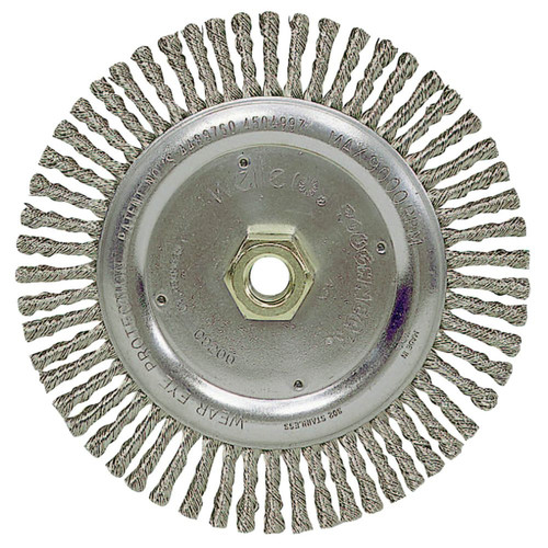Weiler 9200 Roughneck .02 in. Stainless Steel Fill, 5/8 in. - 11 UNC Nut, 7 in. Stringer Bead Wheel image number 0