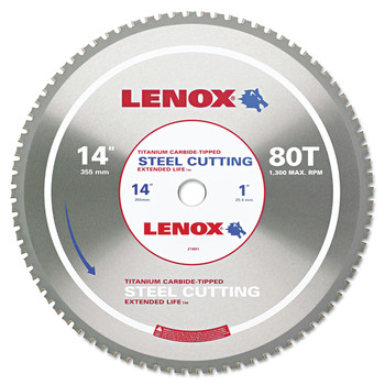 Lenox 21891ST140080CT 80TCircular Saw Blade, Steel-Cutting, 14 in., 1 in. Arbor, 1800 RPM image number 0
