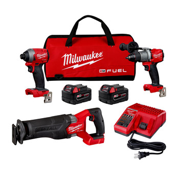 Milwaukee 2998-23 M18 FUEL Brushless Lithium-Ion Cordless 3-Tool Combo Kit (5 Ah)