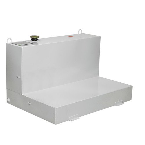 JOBOX 487000 86 Gallon Low-Profile L-Shaped Steel Liquid Transfer Tank - White image number 0