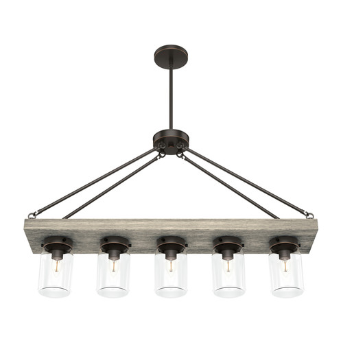 Hunter 19006 Devon Park Onyx Bengal 5-Light Rectangle Chandelier image number 0