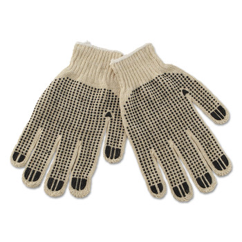 Boardwalk BWK792 Dozen PVC-Dotted String Knit Gloves - Large