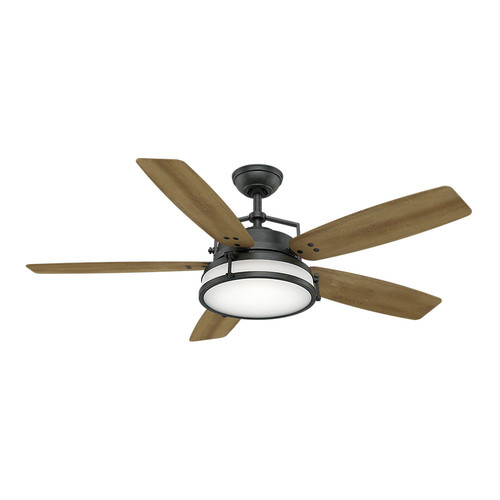 Casablanca 59113 Caneel Bay 56 in. Transitional Aged Steel White Washed Distressed Oak Outdoor Ceiling Fan