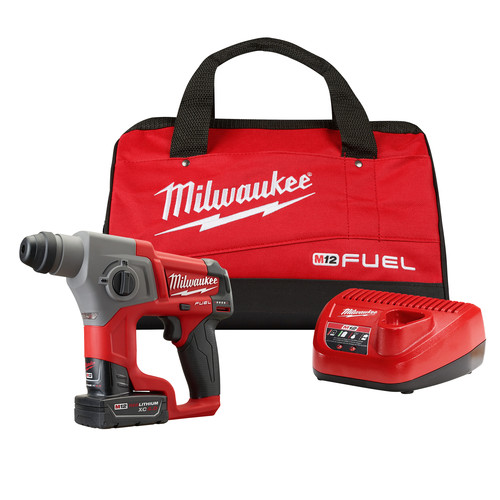 Factory Reconditioned Milwaukee 2416-82XC M12 FUEL Cordless Lithium-Ion 5/8 in. SDS Plus Rotary Hammer Kit with 2 XC Batteries image number 0