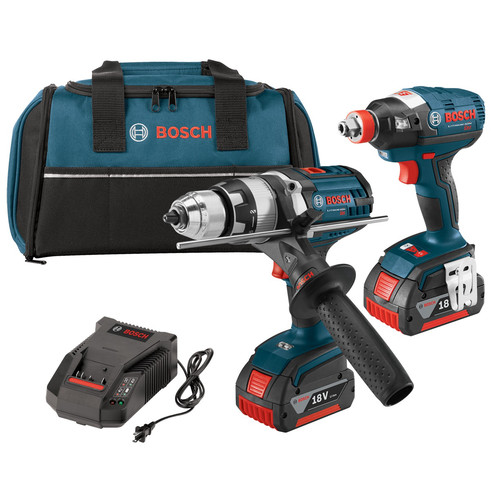 Factory Reconditioned Bosch CLPK224-181-RT 18V Cordless Lithium-Ion 1/2 in. Hammer Drill and Socket Ready Impact Driver Combo Kit