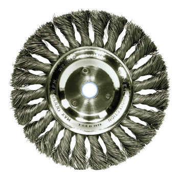 Weiler 08325 .0118 in. Stainless Steel Fill, 5/8 in. - 1/2 in. Arbor Hole, 6 in. Standard Twist Knot Wire Wheel