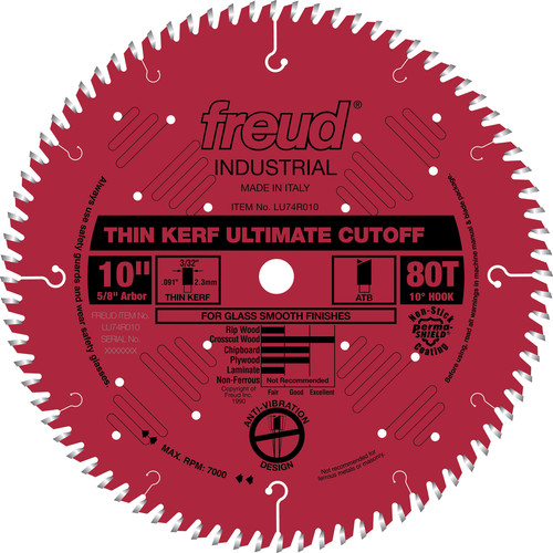 Freud LU74R010 10 in. 80 Tooth Thin Kerf Ultimate Cut-Off Saw Blade