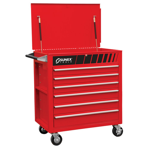 Sunex 8057 Full 6 Drawer Professional Duty Service Cart (Red) image number 0