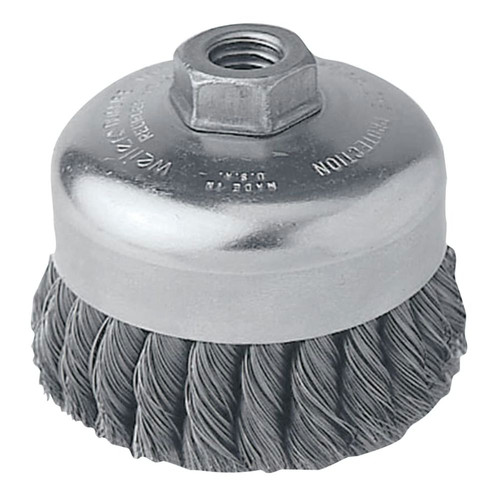 Weiler 12406 .014 in. Stainless Steel Fill, 5/8 in. - 11 UNC Nut, 4 in. Single Row Heavy-Duty Knot Wire Cup Brush image number 0