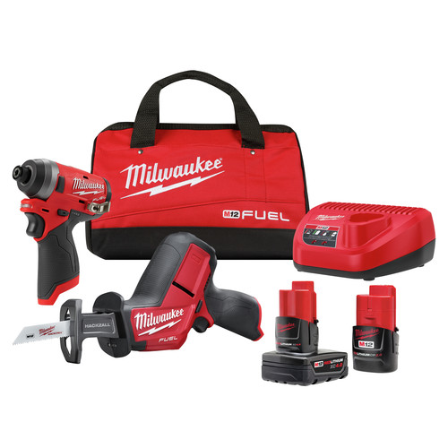 Milwaukee 2593-22 M12 FUEL Brushless Lithium-Ion 1/4 in. Cordless  Hex Impact Driver / HACKZALL One-Handed Reciprocating Saw Combo Kit (2 Ah/ 4 Ah) image number 0