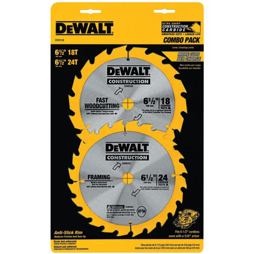 Dewalt DW9158 2-Piece 6-1/2 in. Circular Saw Blade Combo Pack